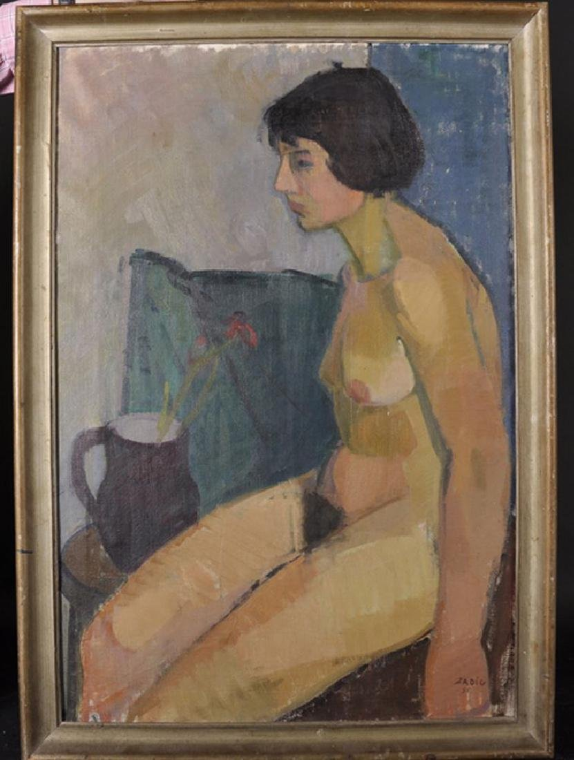 Jacques Zadig (1930    ) Swedish. Nude Woman Sitting by - 2