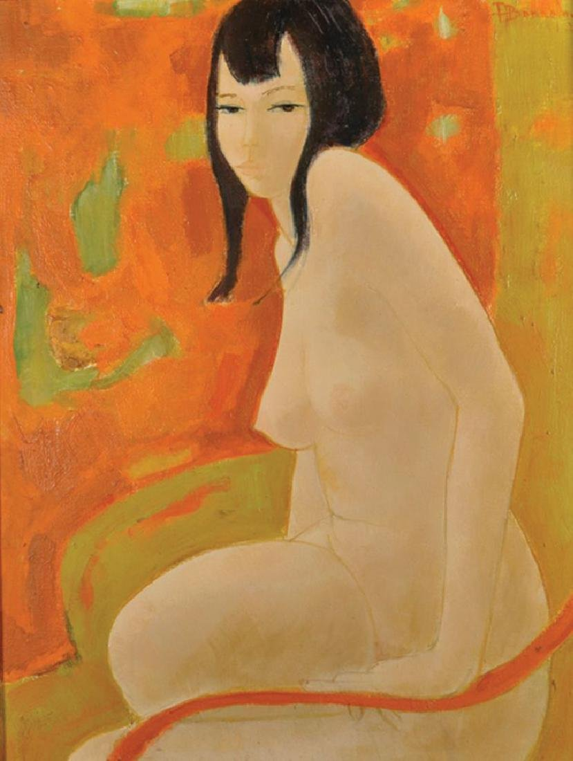 Alain Bonnefoit (1937    ) French.  A Seated Nude, Oil
