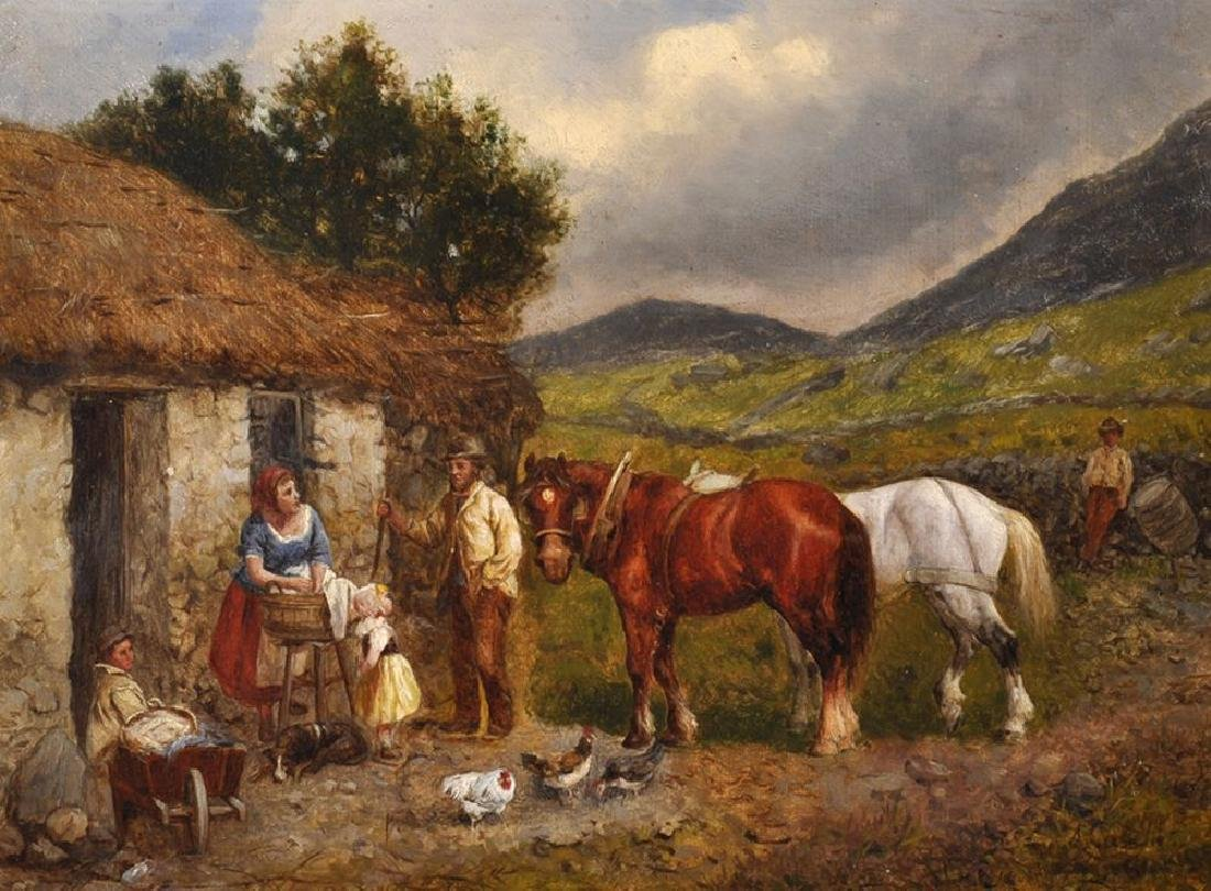 Allesandro Castelli 1809-1902) Italian. Peasants by a
