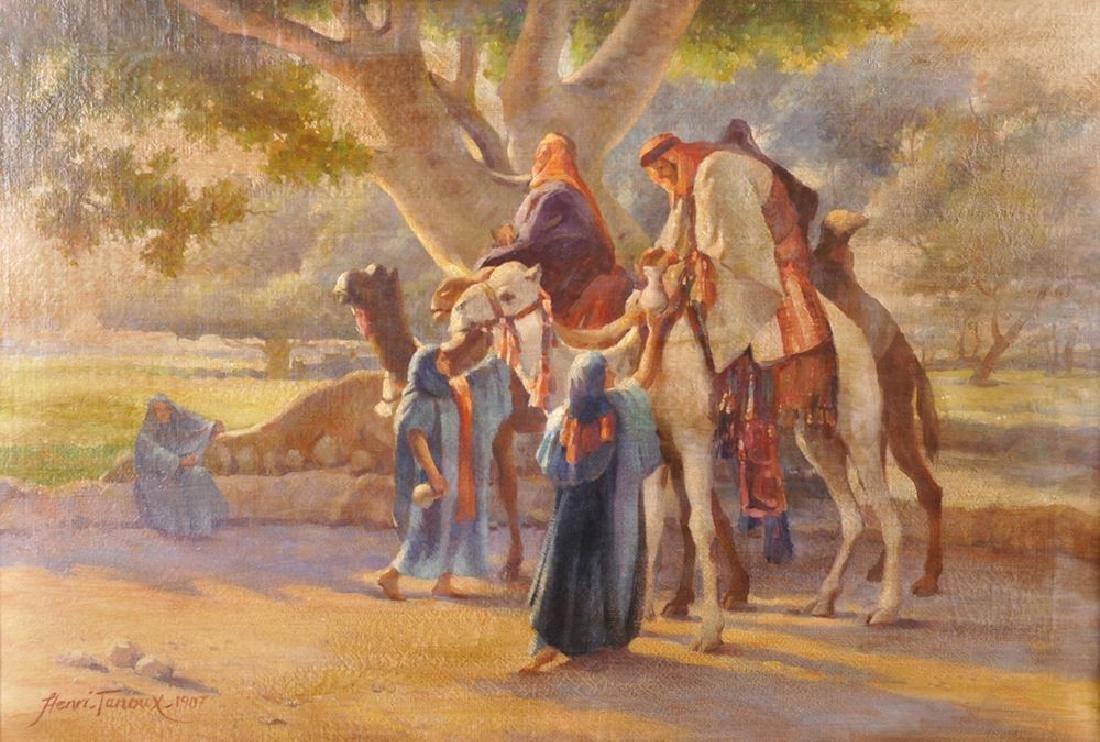 Henri Tanoux (20th Century) European. Camel Riders