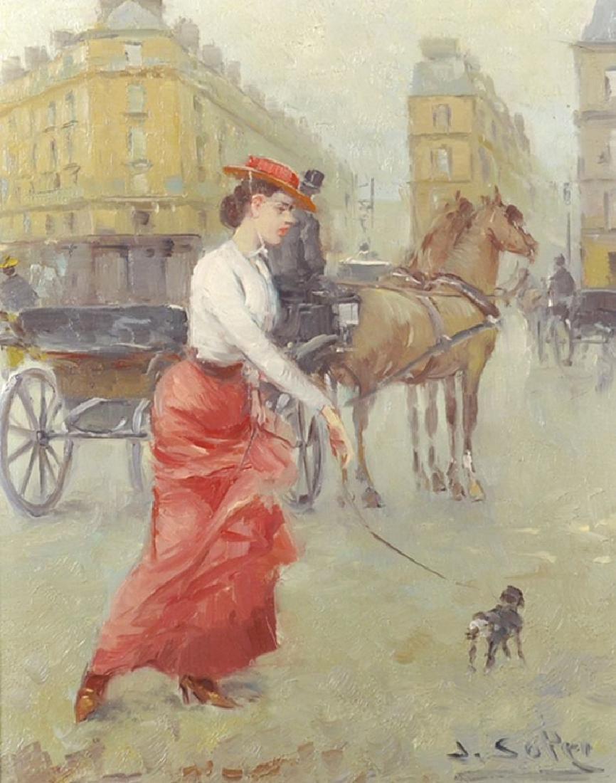 Juan Soler (1951    ) Spanish. A Parisian Street Scene,
