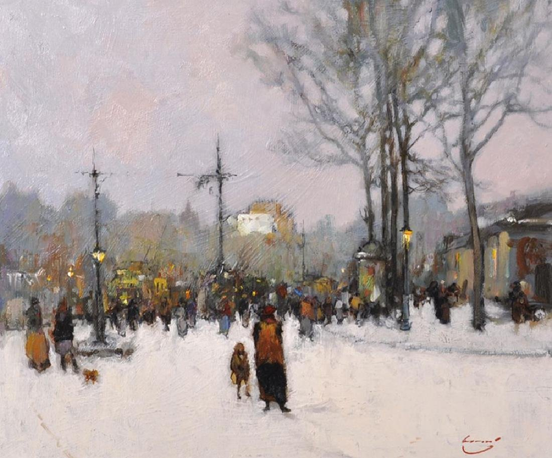 "Ken Moroney (1949    ) British. ""Snow Scene in Paris"","