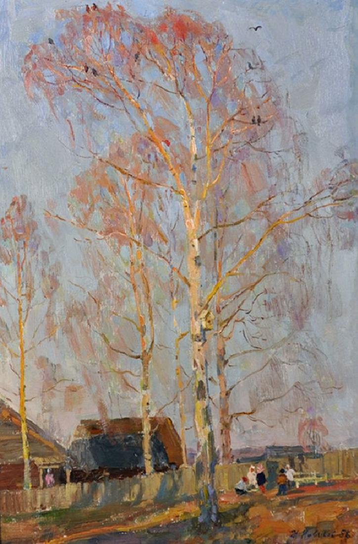 20th Century Russian School. Study of Tall Trees by a