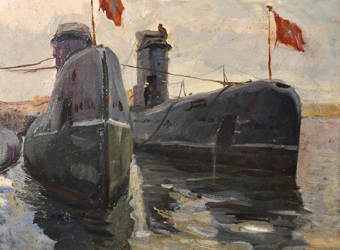B...K...(20th Century) Russian. Two Submarines docked,