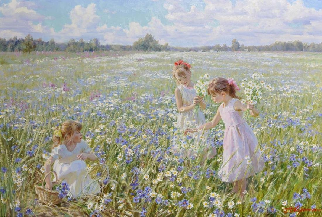 "Alexander Averin (1952   ) Russian. ""Picking Flowers"","