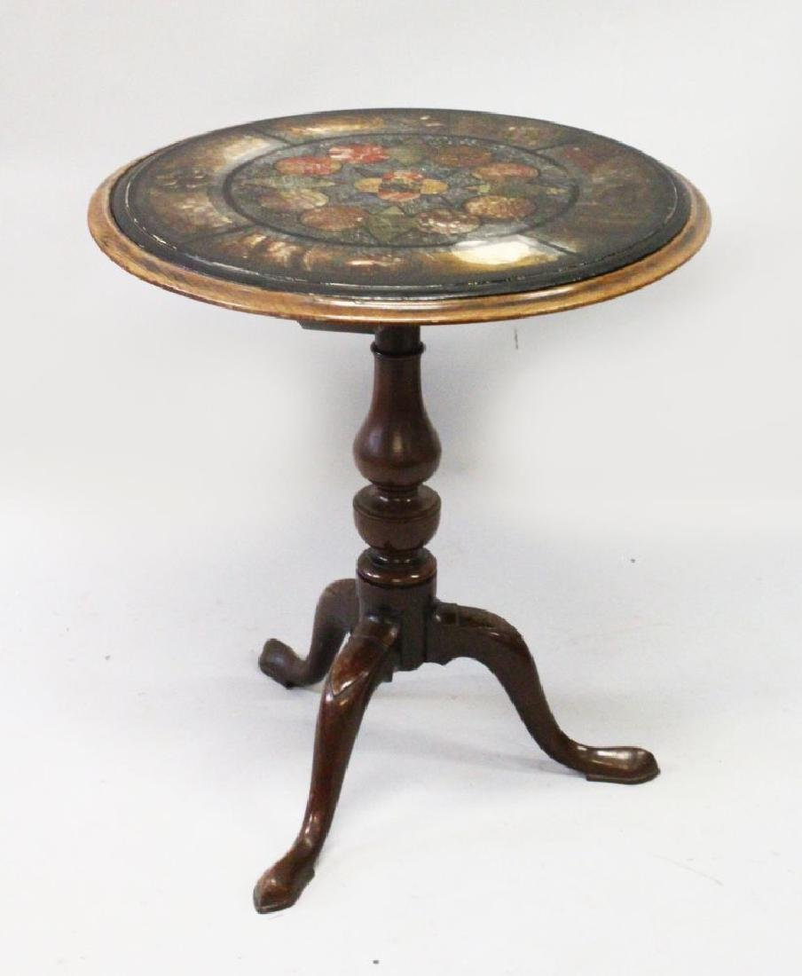 A GEORGE III MAHOGANY AND FAUX MARBLE TRIPOD TABLE, the