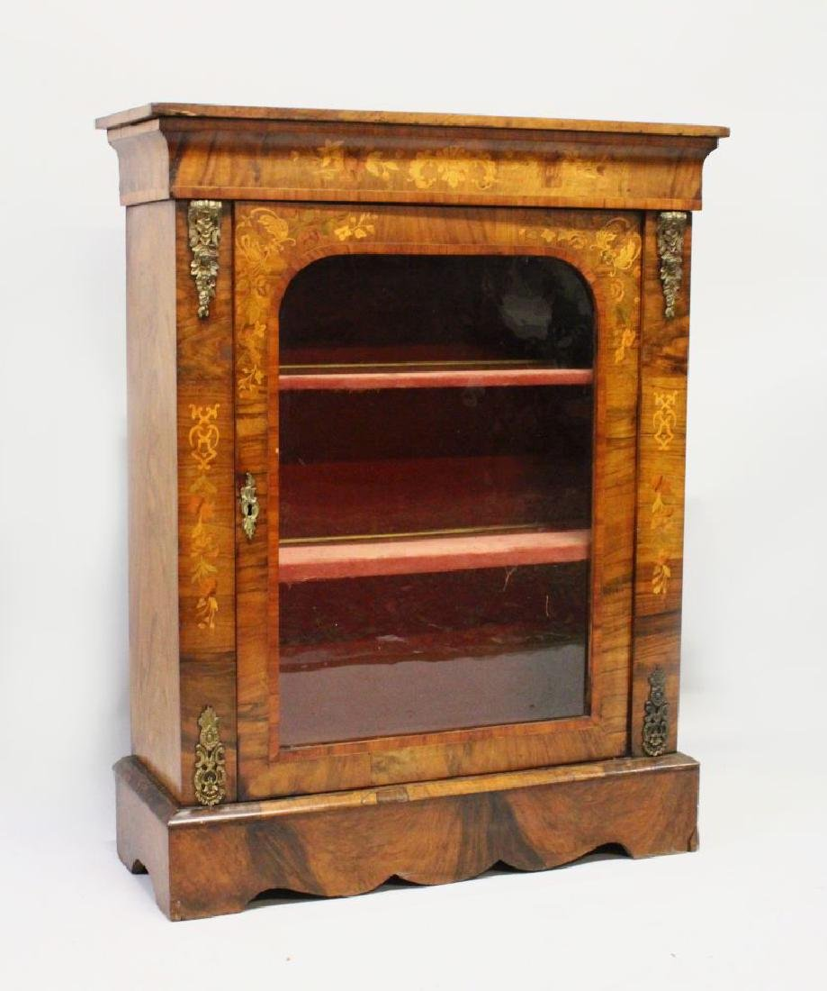 A VICTORIAN WALNUT PIER CABINET, with a single glazed