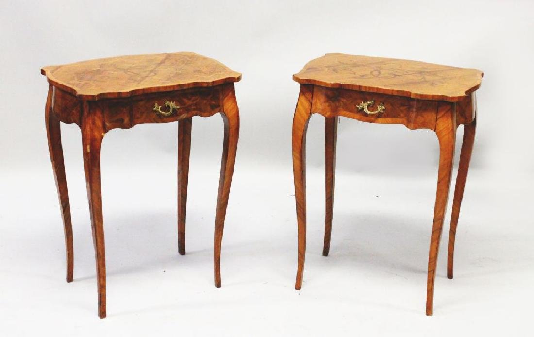 A PAIR OF FRENCH MAHOGANY AND MARQUETRY INLAID SIDE