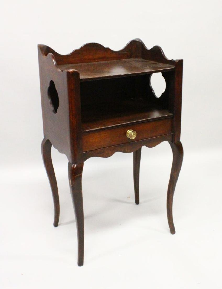 A 19TH CENTURY FRENCH MAHOGANY BEDSIDE TABLE with side
