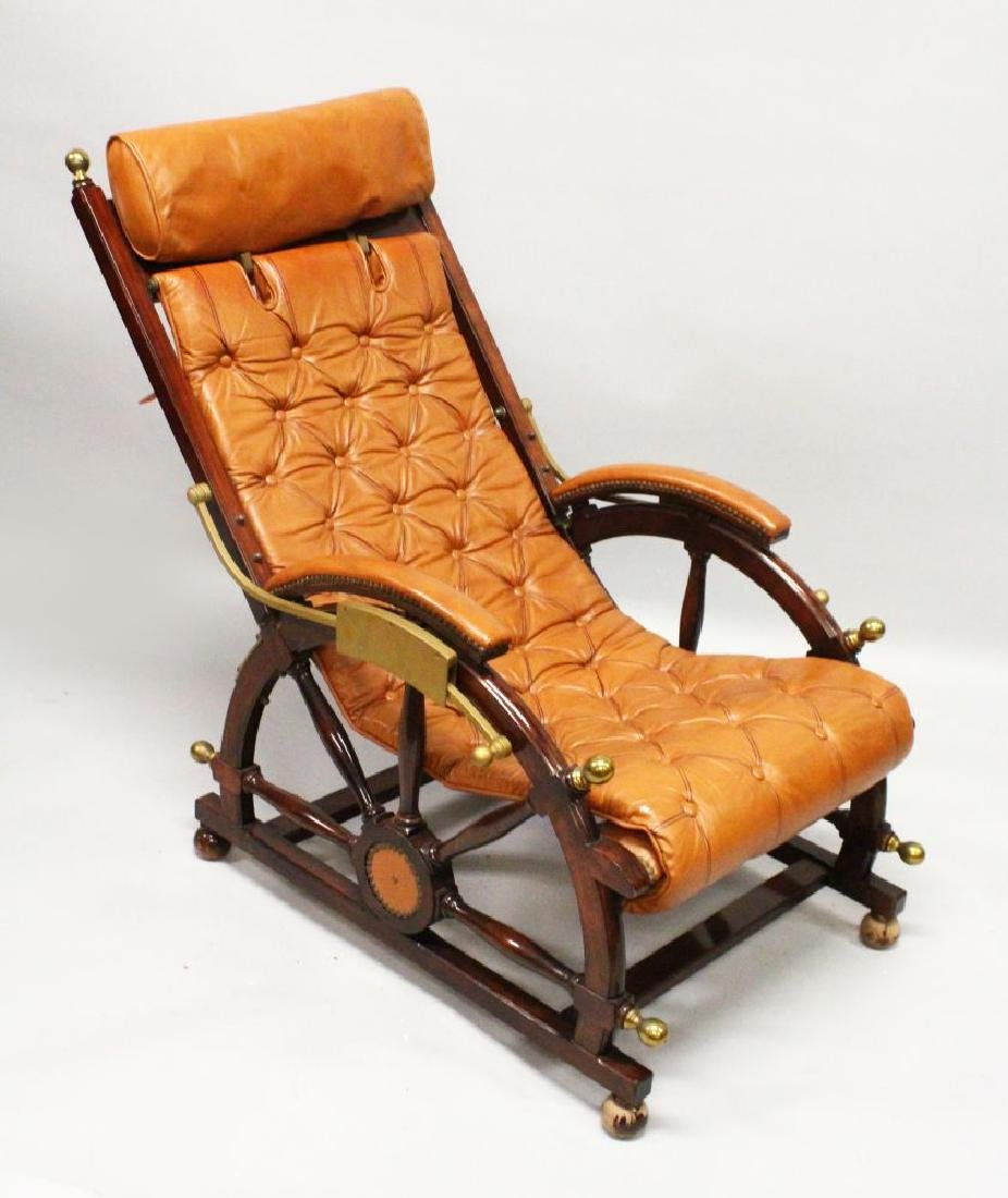 AN UNUSUAL SHIPS MAHOGANY AND BRASS RECLINING CHAIR