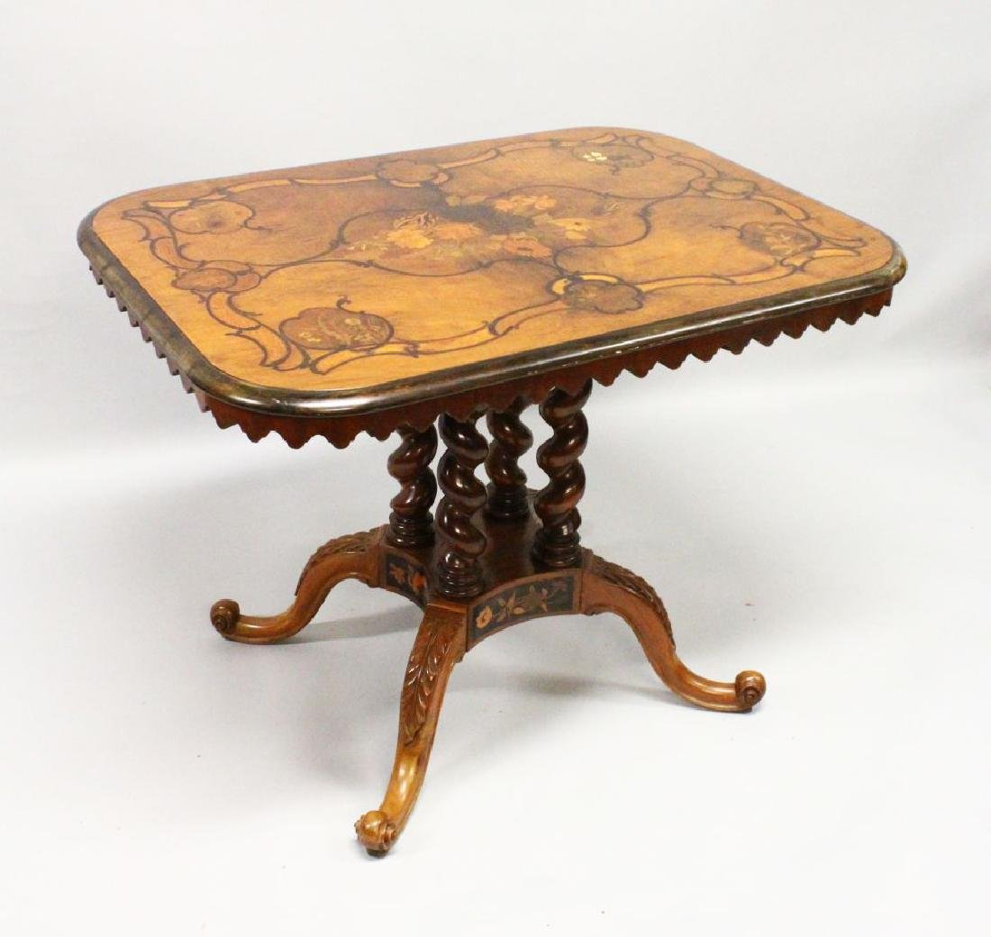 A GOOD 19TH CENTURY WALNUT AND MARQUETRY TABLE with