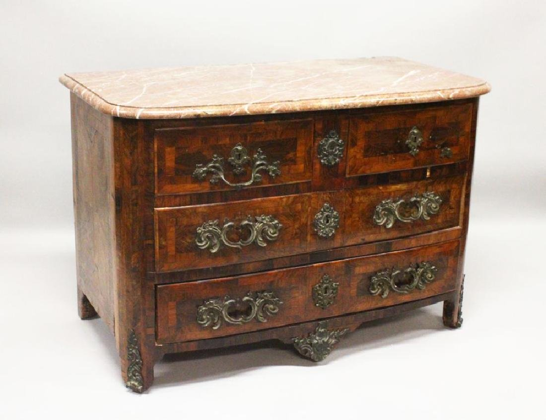 AN 18TH CENTURY FRENCH KINGWOOD, ORMOLU AND MARBLE
