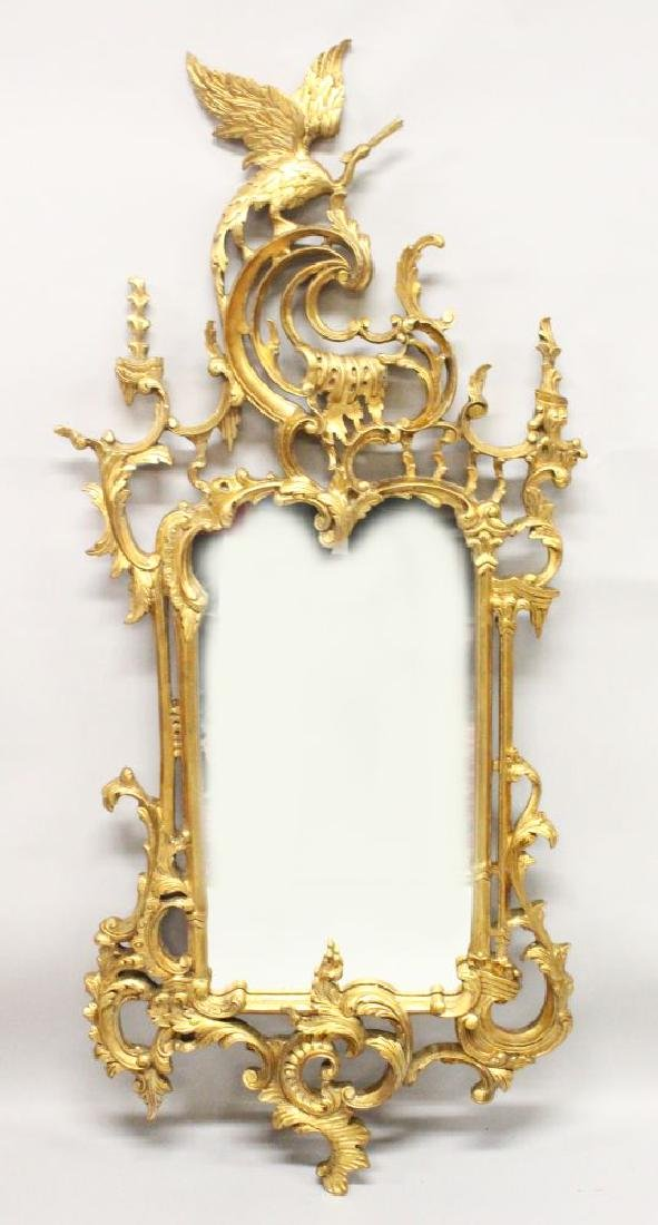 A CHINESE CHIPPENDALE REVIVAL GILT FRAME PIER MIRROR,