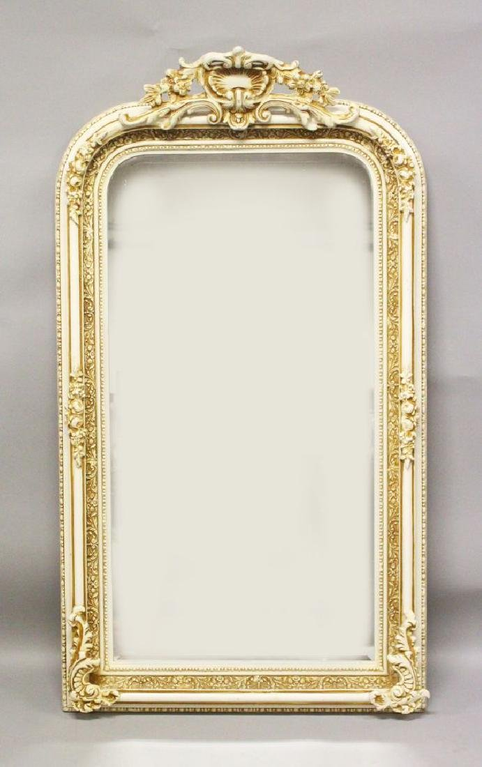 A VICTORIAN STYLE CREAM PAINTED PIER MIRROR, with