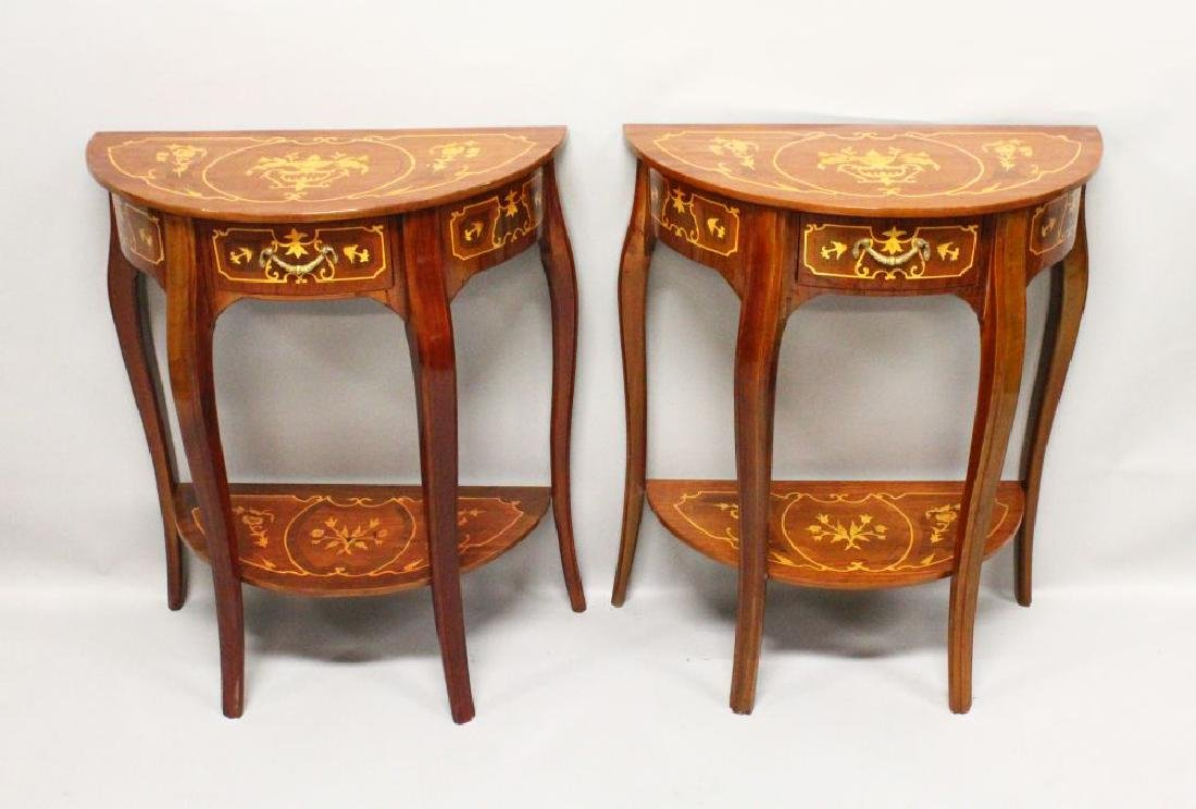 A PAIR OF FRENCH STYLE DEMILUNE SIDE TABLES, with
