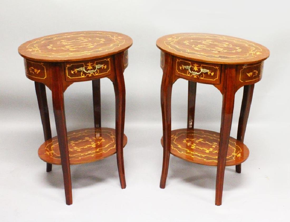A PAIR OF FRENCH STYLE OVAL SIDE TABLES, with inlaid
