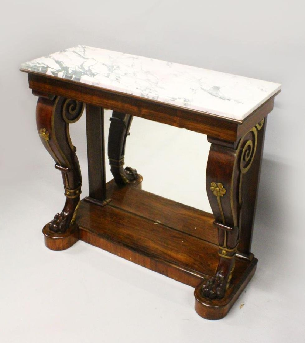 A 19TH CENTURY ROSEWOOD, MARBLE AND PARCEL GILDED