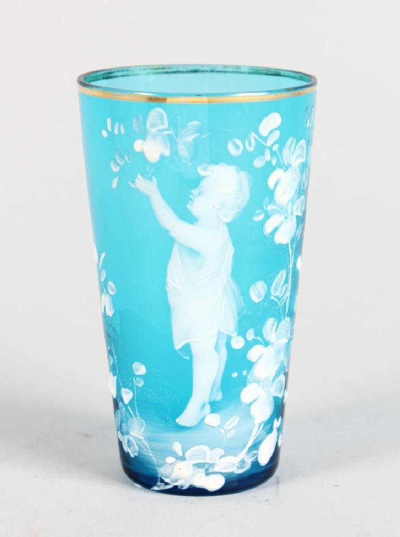 A VICTORIAN MARY GREGORY TURQUOISE TUMBLER, CIRCA.