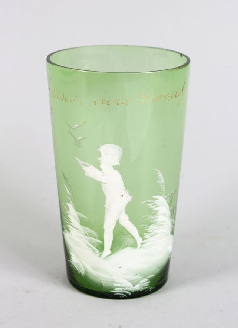 A VICTORIAN MARY GREGORY GREEN TUMBLER, CIRCA. 1880,