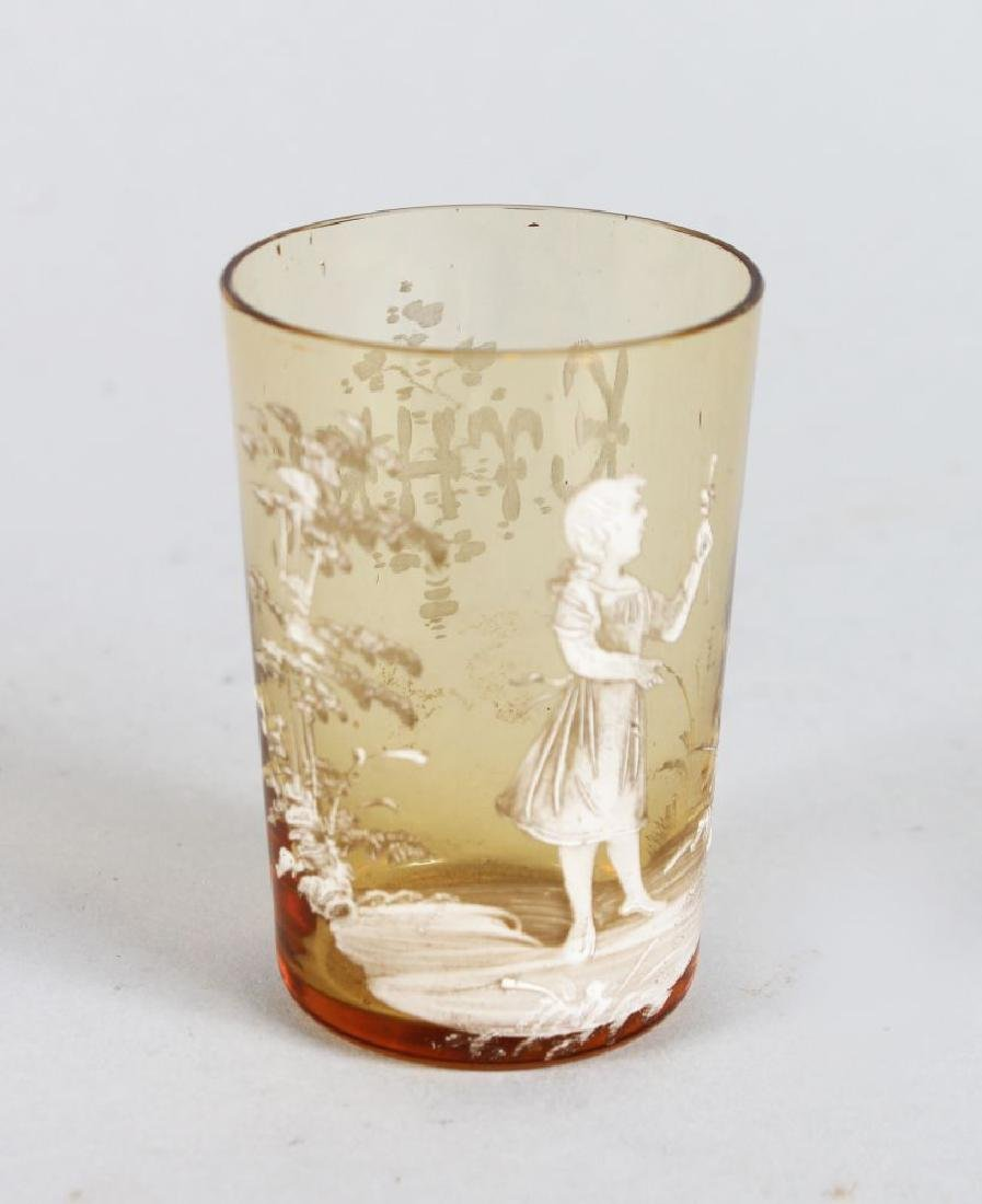 A VICTORIAN MARY GREGORY AMBER TANKARD, CIRCA. 1880,