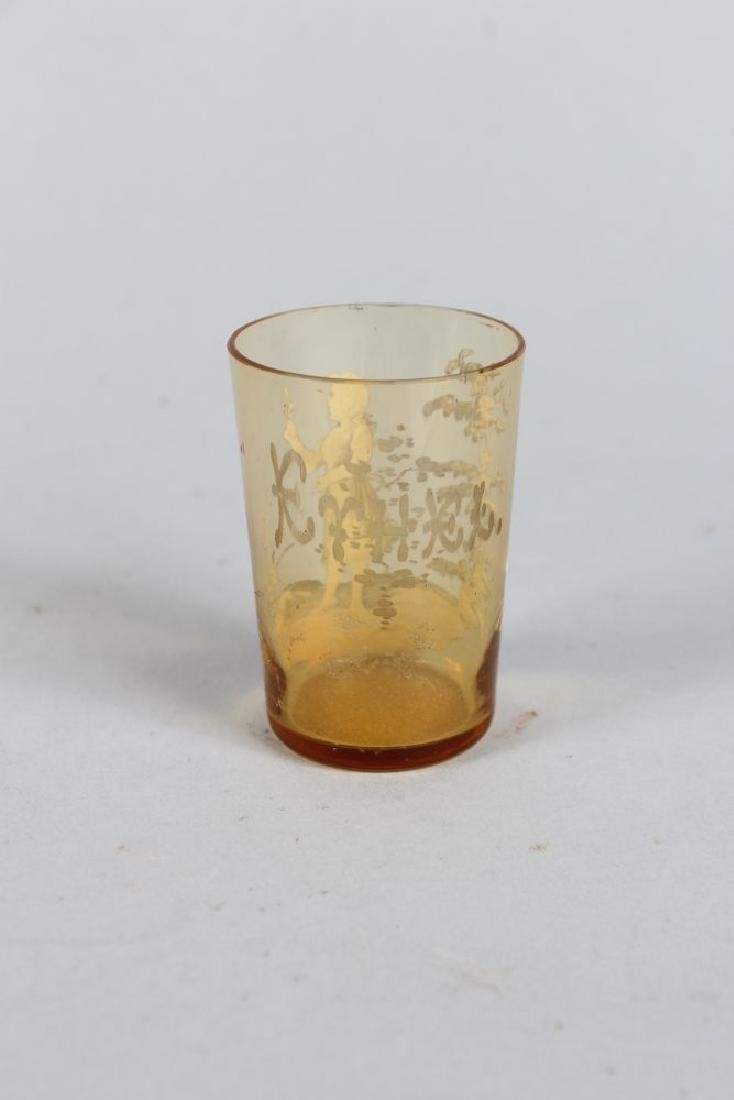A VICTORIAN MARY GREGORY AMBER TANKARD, CIRCA. 1880, - 2