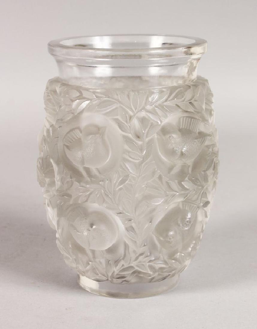 "A GOOD LALIQUE ""BAGATELLE"" CLEAR AND FROSTED VASE, with"