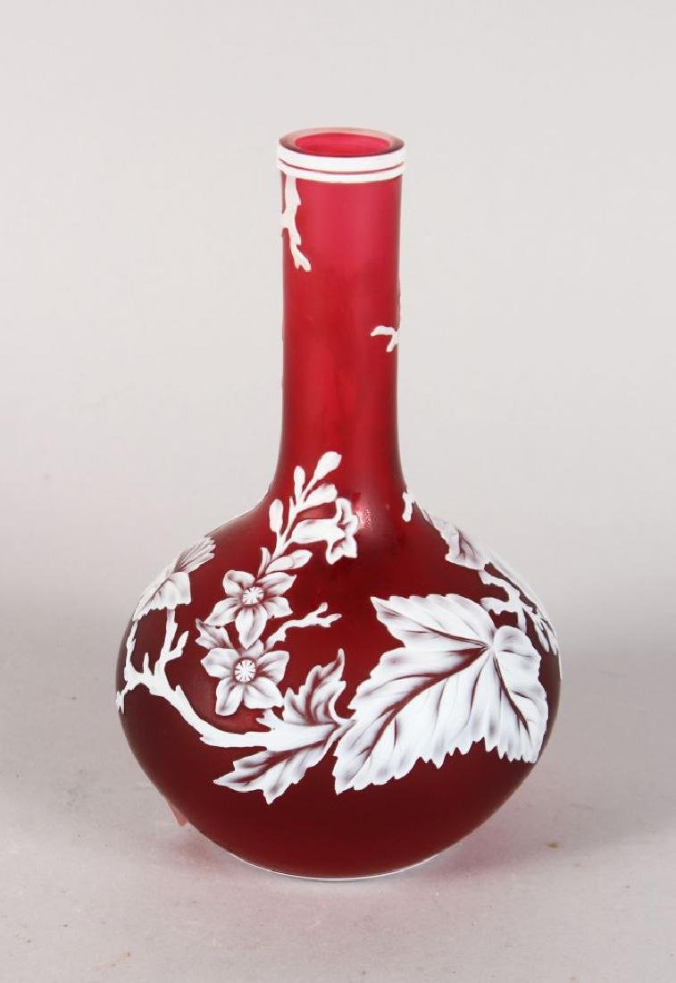 A GOOD WEBB'S CAMEO PINK AND WHITE BOTTLE VASE, with