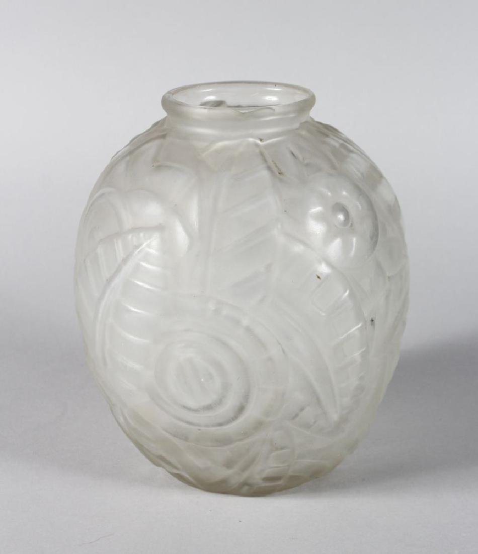 A FROSTED LALIQUE DESIGN VASE with star and other