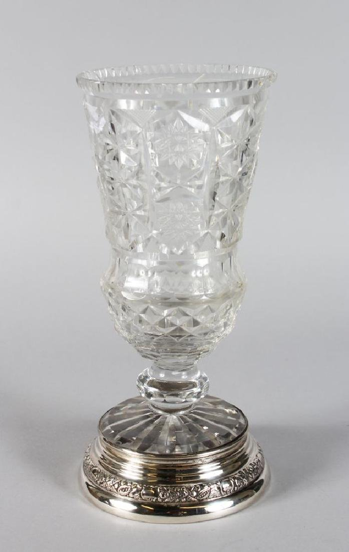 A FRENCH CUT GLASS THISTLE SHAPED VASE with star cut