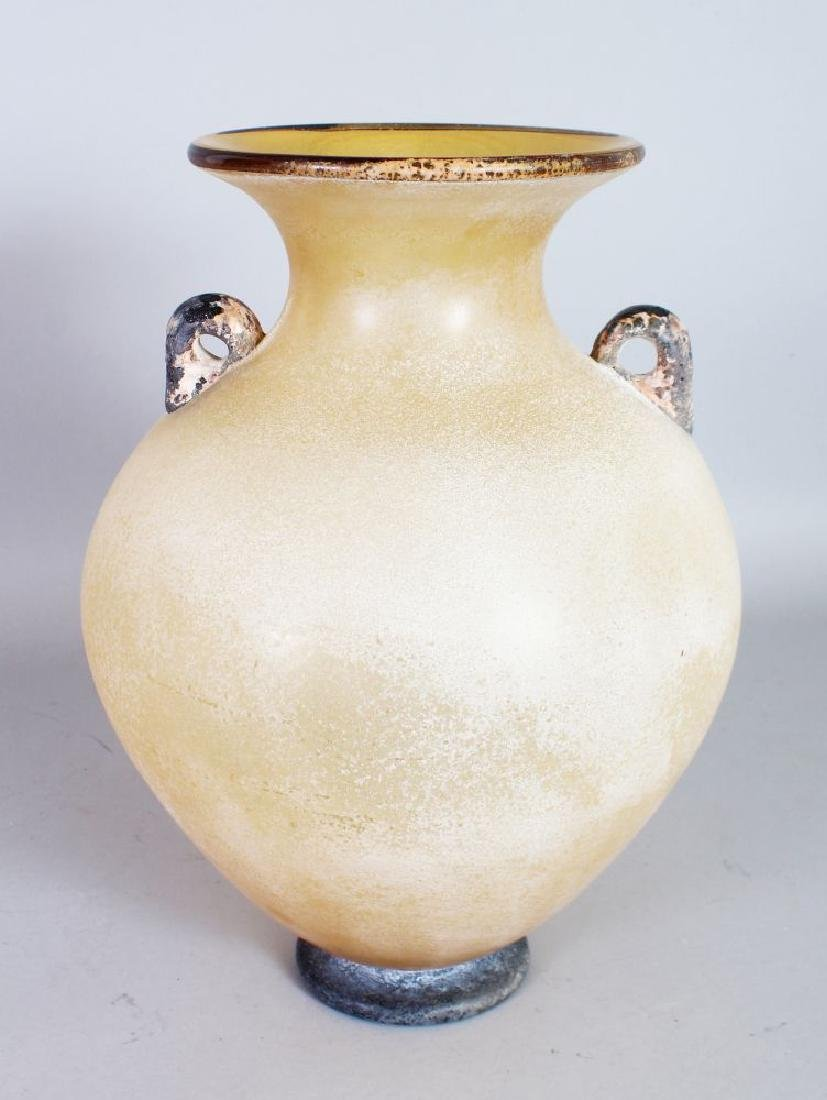 AN UNUSUAL LARGE FROSTED GLASS VASE, of bulbous form,
