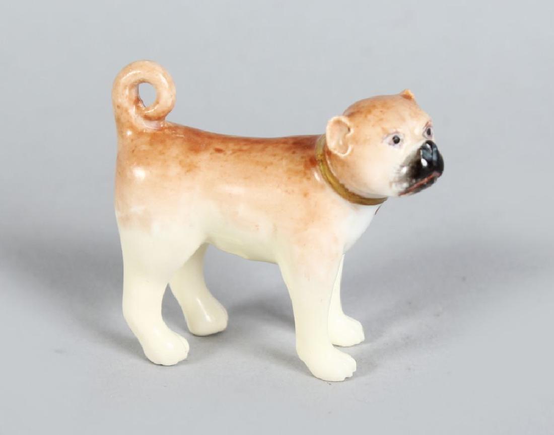 A MINIATURE ENGLISH PORCELAIN BOXER DOG, CIRCA. 1830.