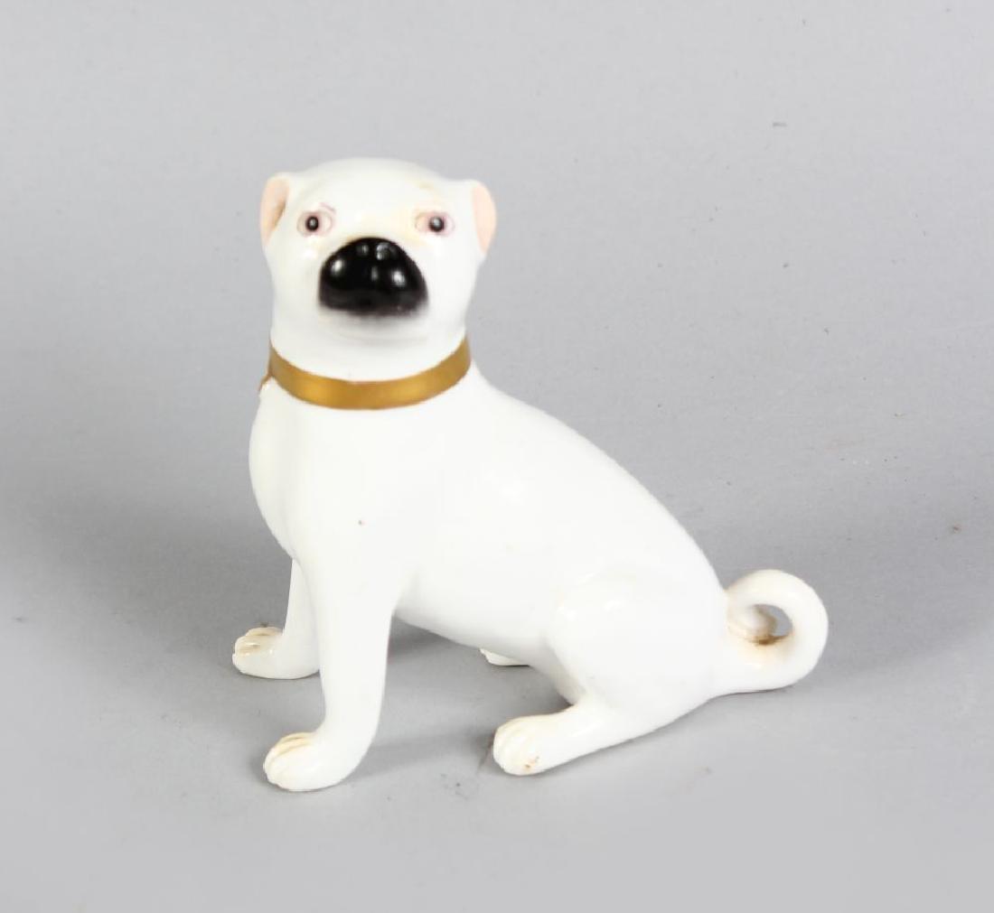 A MINIATURE ENGLISH PORCELAIN SEATED WHITE BOXER DOG