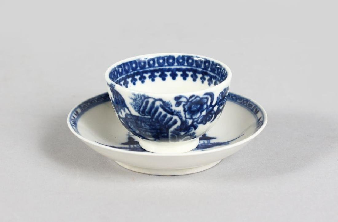 A MINIATURE SALOPIAN BLUE AND WHITE WILLOW PATTERN