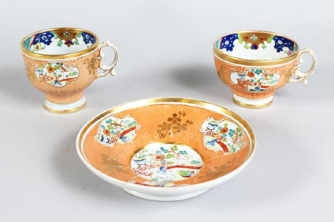 A GOOD EARLY ENGLISH IRONSTONE TRIO, CIRCA. 1820,