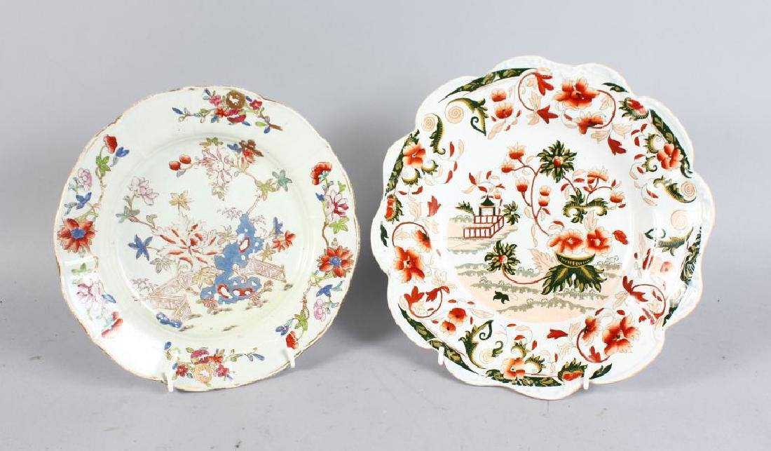 TWO 19TH CENTURY IRONSTONE PLATES, CIRCA. 1840,