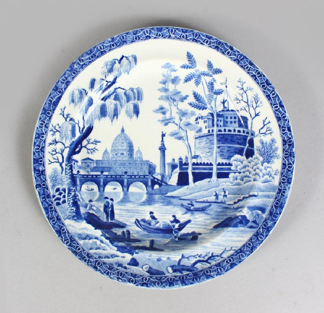 A 19TH CENTURY ENGLISH POTTERY BLUE AND WHITE PLATE,