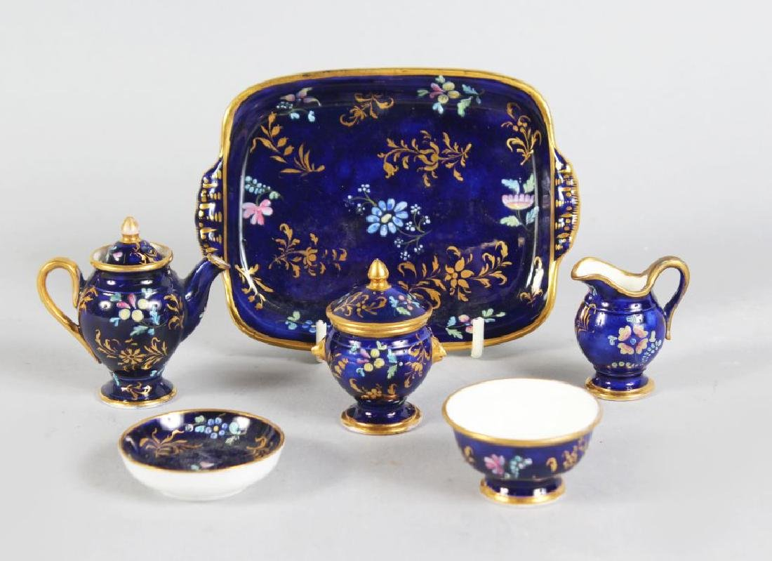 A SPODE MINIATURE CABARET SET, CIRCA. 1820, rich blue