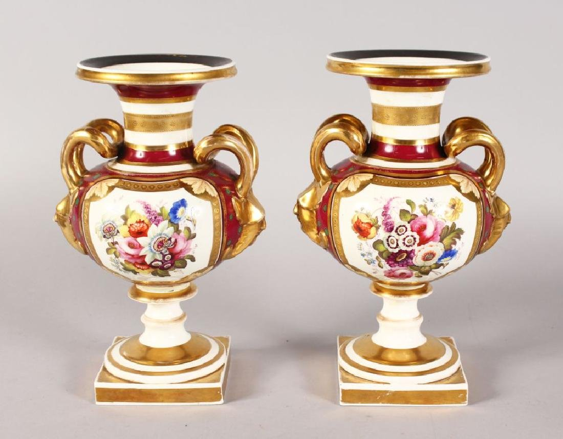 A GOOD PAIR OF ROCKINGHAM DESIGN TWO-HANDLED URN SHAPED