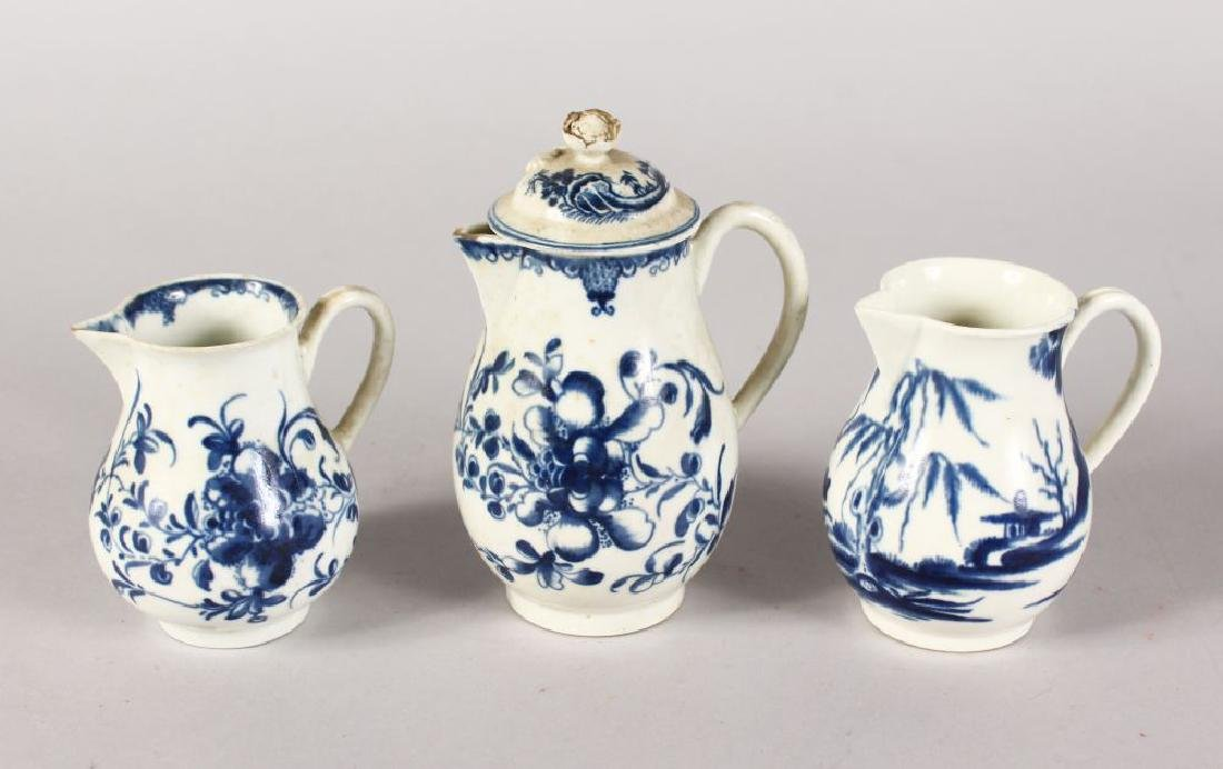THREE VARIOUS WORCESTER BLUE AND WHITE JUGS, one with a
