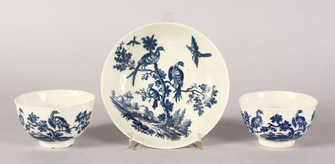 TWO VARIOUS WORCESTER BLUE AND WHITE TEA BOWLS and A