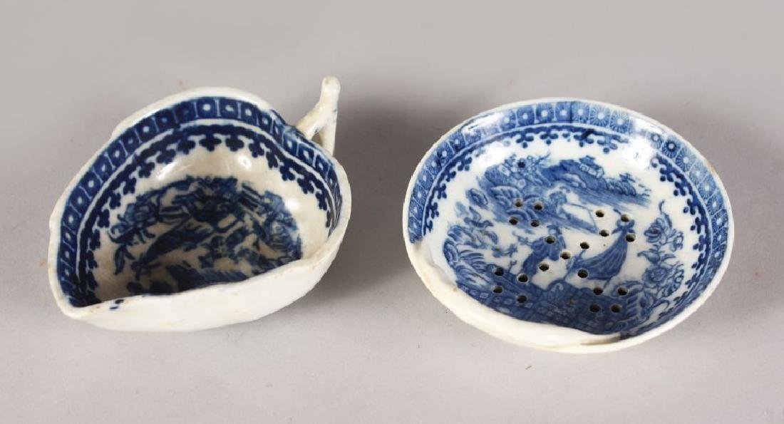 A WORCESTER BLUE AND WHITE PICKLE DISH and A STRAINER