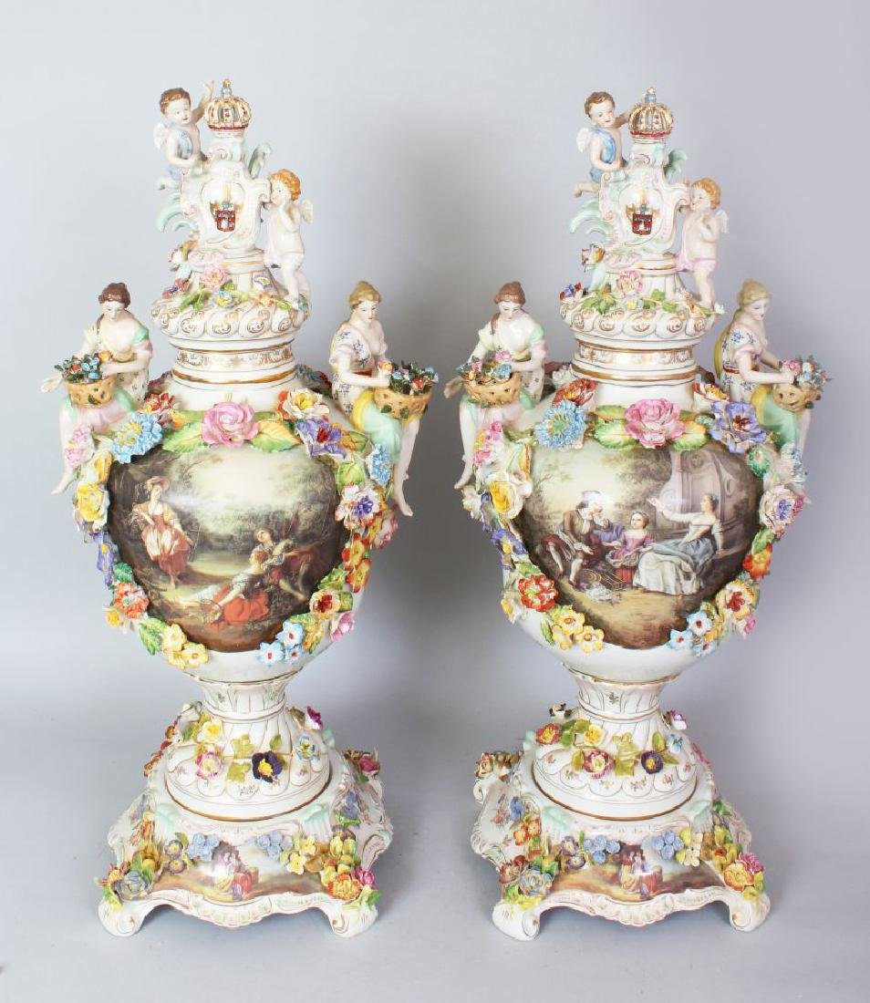 A GOOD LARGE PAIR OF MEISSEN STYLE URN SHAPED VASES,