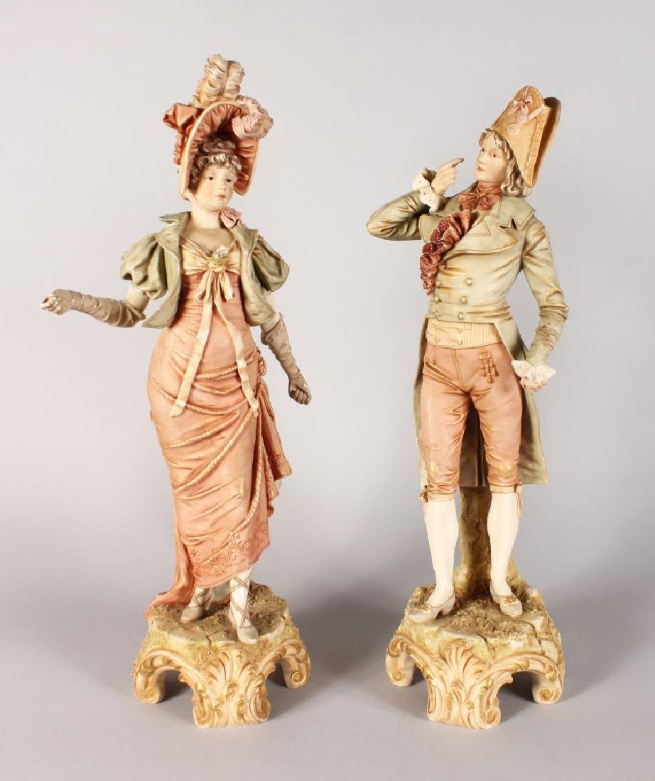 A LARGE PAIR OF ROYAL DUX FIGURES OF A GALLANT AND