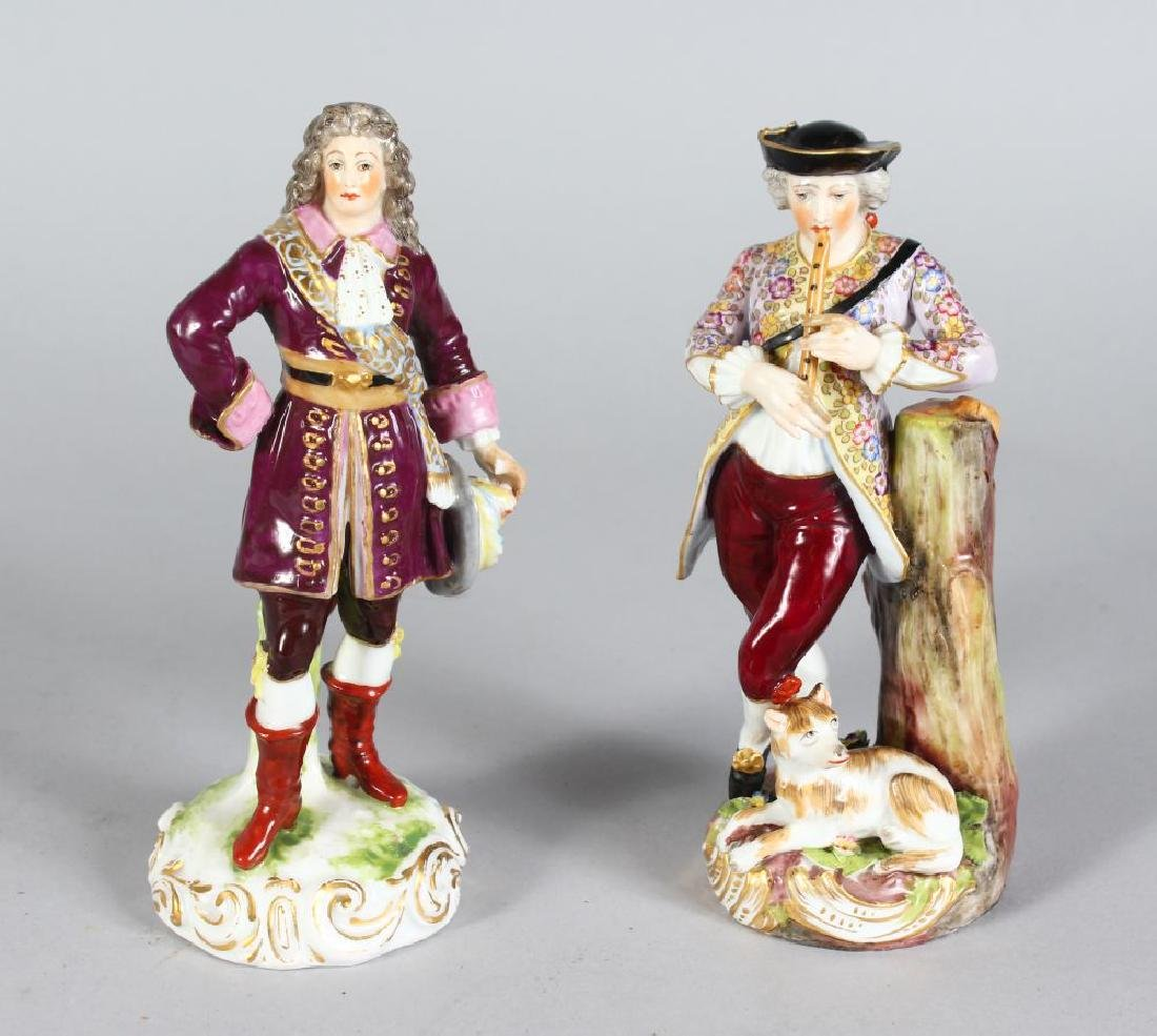 TWO MEISSEN PORCELAIN FIGURES OF A DANDY with sword and