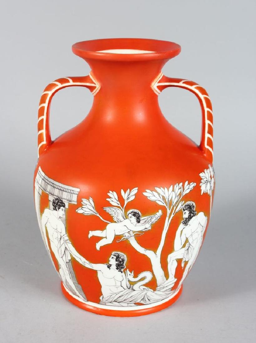A LARGE ORANGE PORCELAIN PORTLAND VASE with printed