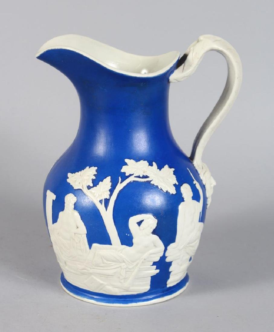 A PORCELAIN BLUE AND WHITE PORTLAND JUG in Jasper
