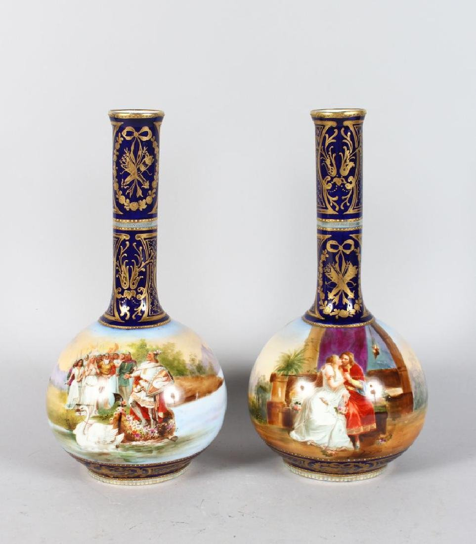 A PAIR OF LATE 19TH CENTURY DRESDEN BOTTLE VASES, each