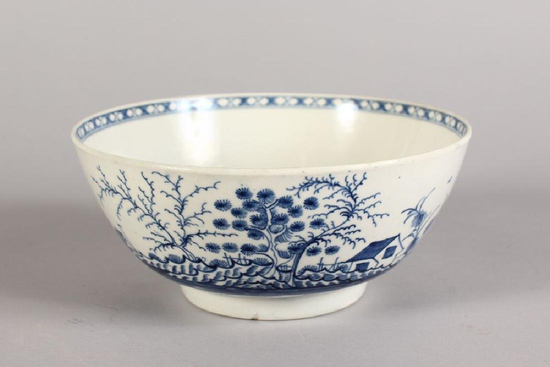 A WORCESTER BLUE AND WHITE BOWL, Crescent Mark in Blue.