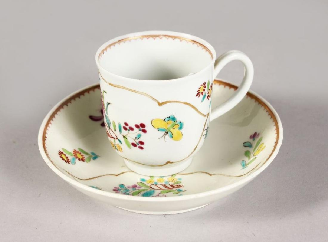 AN 18TH CENTURY WORCESTER COFFEE CUP AND SAUCER painted