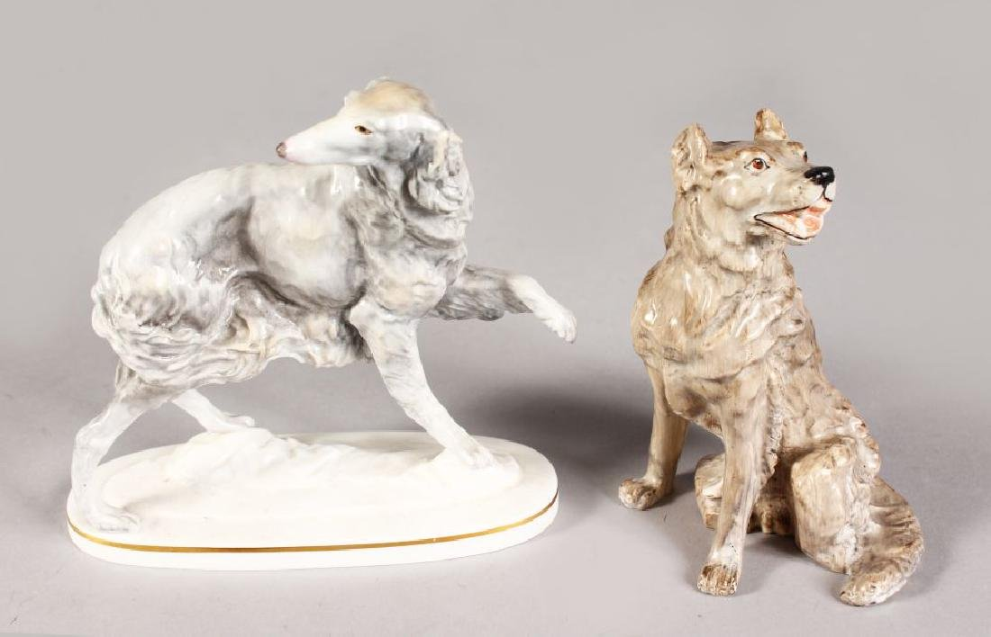 A RARE DERBY FIGURE OF A DOG, painted by Jack Ratcliff,